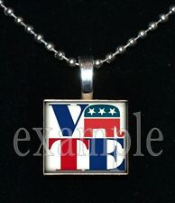 VOTE Republican Elephant USA America Scrabble Tile Necklace Charm or Keychain