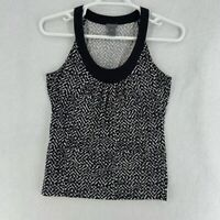 Ann Taylor Womens Tank Top Black Geometric Sleeveless Scoop Neck Stretch M
