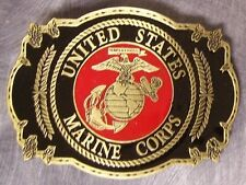 Military Belt Buckle Pewter U S Marine Corps emblem NEW - MADE IN THE U.S.A.