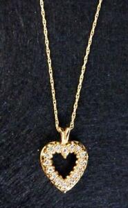 """14K Yellow Solid Gold Diamond Heart Necklace 18"""""""