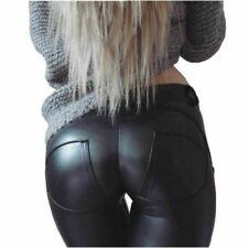 Womens PU Leather Leggings Winter Sexy Hip Push Up Pants Legging Female Faux Lea