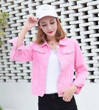 Women Slim Denim Casual Jean Trench Coat Short Jacket Outerwear Cowboy S-2XL