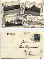 1913 Stempel REIFLAND a/ Mehrbild-AK Schule, Bahnhof, Dorfplatz Gasthof Haubold