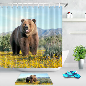 "Mountain Landscape Brown Bear Shower Curtain Set Bathroom Waterproof Fabric 72"""