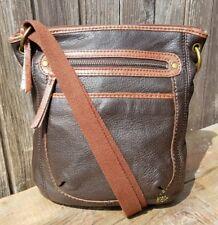 The Sak Kendra Brown Leather Teak Crossbody Shoulder Bag Satchel