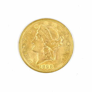 1898-S $20 LIBERTY HEAD DOUBLE EAGLE 90% GOLD US COLLECTIBLE COIN VF-XF DETAILS