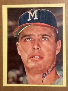 Eddie Mathews Brave 8.5 x 11  Autographed Vintage Magazine Photo JSA Auction COA