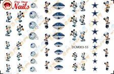 55pcs Dallas Cowboys Mickey Nail Art Decals Stickers Transfers. DCM003-55