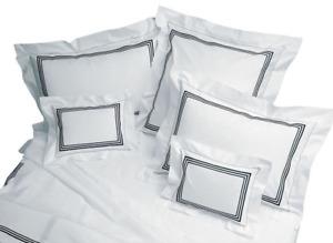 New PRATESI Ivory & Navy 3 Line Embroidered Standard Pillow Sham Free Ship