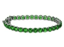 Russian Chrome Diopside Round Cut Green Tennis Bracelet Sterling Silver size