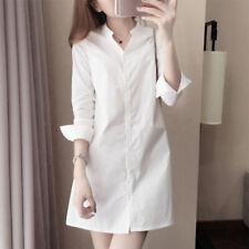 Mujer Vestido Camisero Verano Manga Larga Color Sólido con Botones Blusa Casual