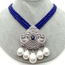 """19""""  White Sea Shell Pearl CZ Pendant 3strands Blue Jade statement Necklace"""