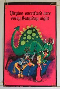 Virgins Sacrificed Vintage Blacklight Poster 70's Pin-up Dragon Princess Knight