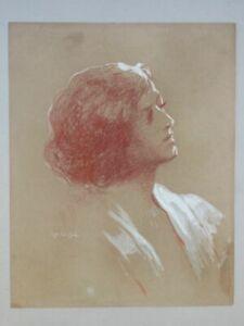 Frau im Profil - Robert Seuffert - signierte Rötel-Zeichnung - Portrait 1920