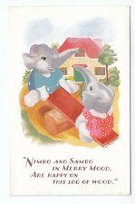 Elephants Nimbo & Sambo Merry Mood Happy On Log Of Wood Salmon 4990 Enid Bond