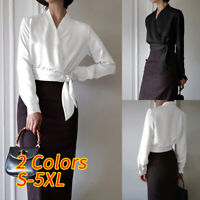 Size Women Satin Silky Tie Knot Tops Ladies Club V-neck Puff Sleeve Shirt Blouse