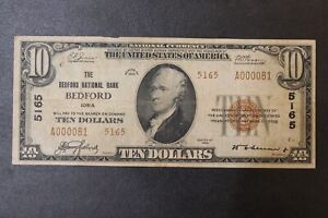 Bedford National Bank of Iowa Charter 5165 10.00 Ten Dollar