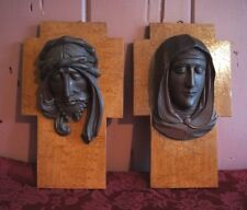 MID CENTURY MODERN RELIGIOUS WALL PLAQUES: SET OF 2: JESUS/ MARY: