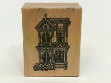 Victorian House  Rubber Stamp on wood block