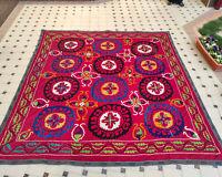 LARGE Silk Suzani wall hanging Vintage Uzbek silk handmade embroidery bedding