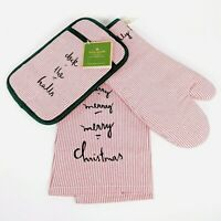 Kate Spade - VERY MERRY 3pc Set - Xmas Stripe Pot Holder,Oven Mitt,Kitchen Towel
