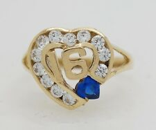 14K Solid Yellow Gold CZ Sweet Sixteen 16 Heart Ring [12 Colors] [All Sizes]