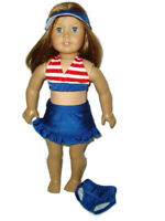 "4pc Patriotic Swimsuit Fits American girl dolls 18"" Doll Clothes Red White Blue"