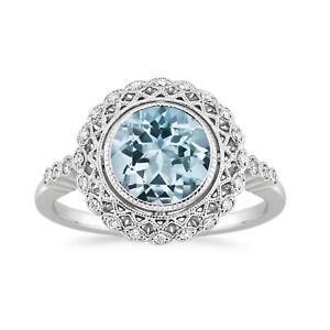 Genuine Diamond Aquamarine 950 Platinum Women's Ring Round 1.50 Ct Size M N P