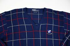 Polo Ralph Lauren V Neck Blue Plaid Pullover Sweater Size Large Golf Crest Logo