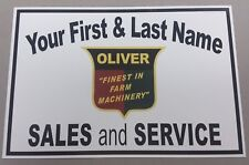 PERSONALIZED OLIVER (FINEST IN FARM MACHINERY) ALUMINUM NAME SIGN