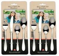 2 x 4 Pack Grunwerg Stainless Steel 4 Piece Children Child Cutlery Set