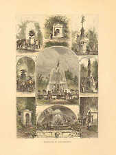 Fountains In Philadelphia, Hand Colored, Vintage 1872 Antique Art Print