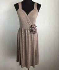 Anthropologie Deletta Corsage Twirl Dress S Small Brown A Line Flower Modal Knit