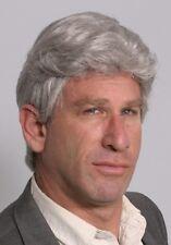 MENS MALE SHORT HAIR WIG WAVY MONOFILAMENT FRONT BLACK GRAY BROWN WHITE ALEX