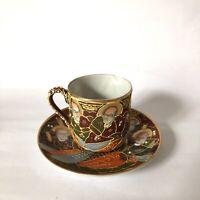 Satsuma Moriage Demitasse Teaset  HandPainted Antique Japanese Porcelain Goddess