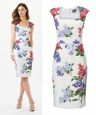 BNWT Phase Eight Lilia Cotton White Lilac Cocktail Pencil Dress Size 16 Holidays