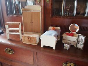vintage Möbel für antike Puppenstube Puppenbett Möbel Schlafzimmer Puppenhaus