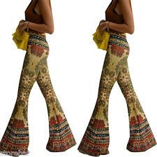 Womens Bell Bottom 60s 70s Hippy Hippie Retro Wide Leg Long Pants Trousers NEW
