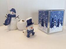 New Snowmen Blue and White Bathroom Set; Tissue box, Toothbrush Holder, and Nite