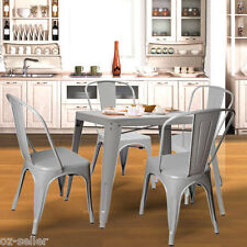 Stylish Steel with Power Coating Metal Bar Stool and Table Dining setting Sliver