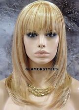 Long W Bang Straight Layered Blonde Mix Human Hair Blend Full Wig Hair Piece