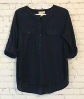 LOFT Womens Popover Shirt Size Medium Navy Blue Semi Sheer Roll Tab Sleeve