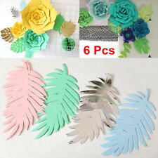 6Pcs Handmade Paper Palm Leaves Backdrop Wedding Party Birthday Wall Deco