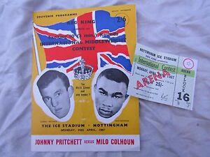 BOXING PROGRAMME + TICKET 1967 NOTTINGHAM JOHNNY PRITCHETT v MILO COLHOUN ARENA