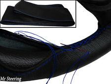 Per FIAT SEICENTO,600 NERO 100% Vera Pelle Volante Copertura Cuciture Blu