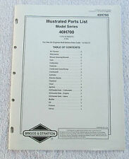 Briggs & Stratton Engines Illustrated Parts List Model Series 40H700 USA Manual