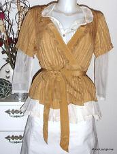 Noa noa blusa blouse, superior, talla S/36, Silk seda tan, nuevo beige Cream