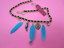 Betsey Johnson Blue Feather Parrot  Necklace