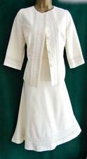 New MONSOON Uk12 Ivory Cotton/SILK JACKET DRESS 2Piece Short SUIT Bridal Wedding