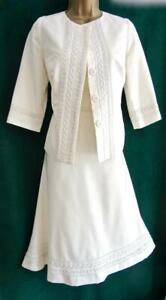 New MONSOON Uk12 Ivory Cotton/SILK JACKET DRESS 2Piece Short SUIT Bridal Wedding